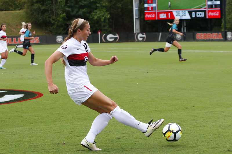 Georgia forward Kelsey Killean (22) during the Bulldogs' game against Coastal Carolina at Turner Soccer Complex in Athens, Ga., on Sunday, Sept 10, 2017. (Photo by Steffenie Burns)