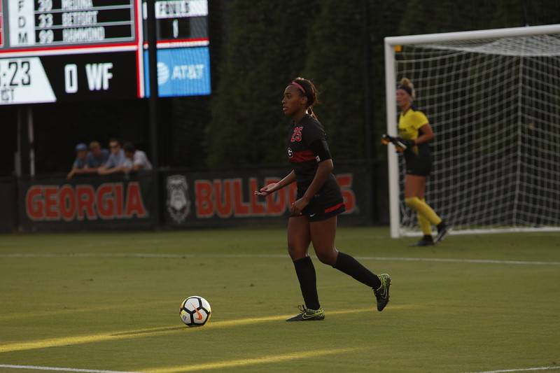 Georgia defender Kayla Bruster (25) during the Bulldogs' game against Wake Forest at Turner Soccer Complex in Athens, GA, on Friday, August 18, 2017.  (Photo: Steffenie Burns / Georgia Sports Communication)