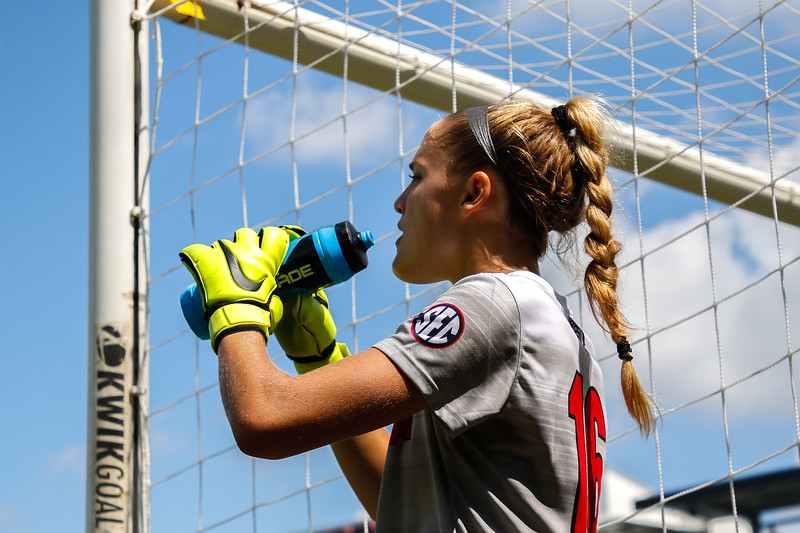 Georgia goalkeeper Liz Brucia (16) takes a drink of water during a scrimmage at the Turner Soccer Complex in Athens, Ga., on Saturday, Aug., 11, 2018. (Photo by Kristin M. Bradshaw)
