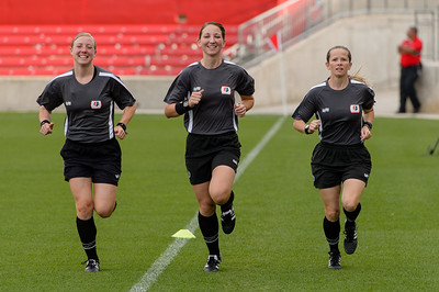 Assistant Referee Adrienne McDonald, Referee Danielle Brzezinski-Chesky, Assistant Referee Jennifer Garner