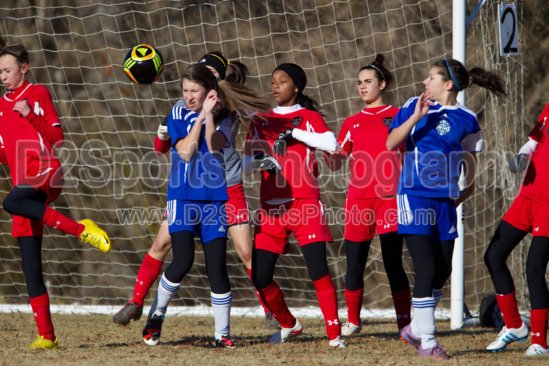 97 GUFC COURAGE WHITE G vs 97 LADY TWINS WHITE 2011 Twin City Friendlies, Field #2 Saturday, January 29, 2011 at BB&T Soccer Park Advance, NC (file 094835_BV0H3375_1D4)