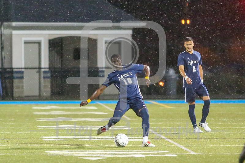 Mercy College Mavericks midfielder Romello Fraser (10)