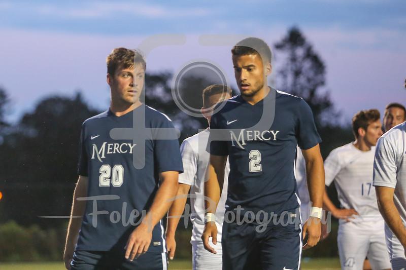 Mercy College Mavericks forward Danny Gavin (20) Mercy College Mavericks Jose Carvajal (2)