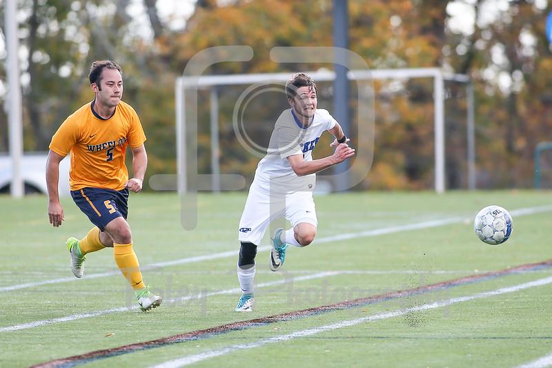Becker College Hawks forward Colby Koch (2) Wheelock Wildcats Sheen McCaig (5)