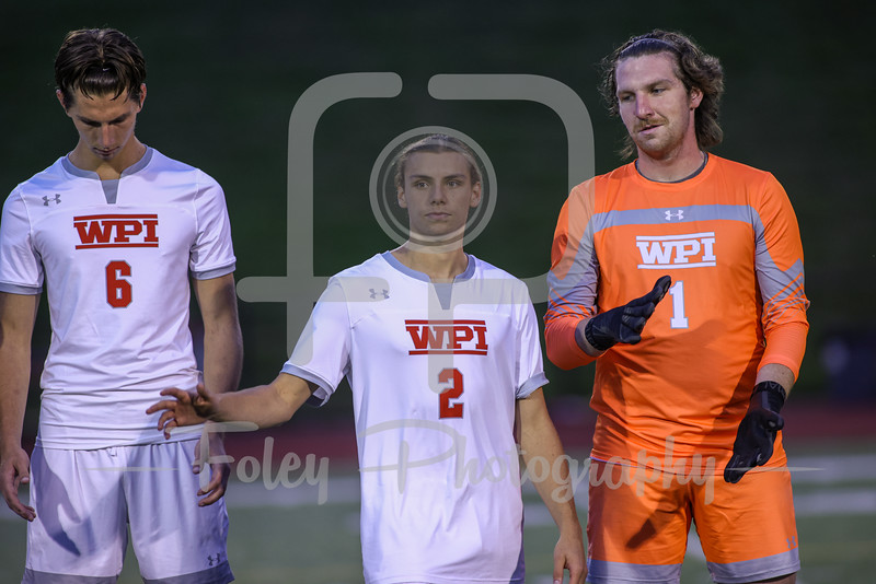 Sep. 14, 2021; Worcester, Massachusetts, USA;  during a non conference matchup between Saint Joseph (ME) and WPI. The Engineers and Monks tied 1-1 at Alumni Field. Photo by Foley-Photography.