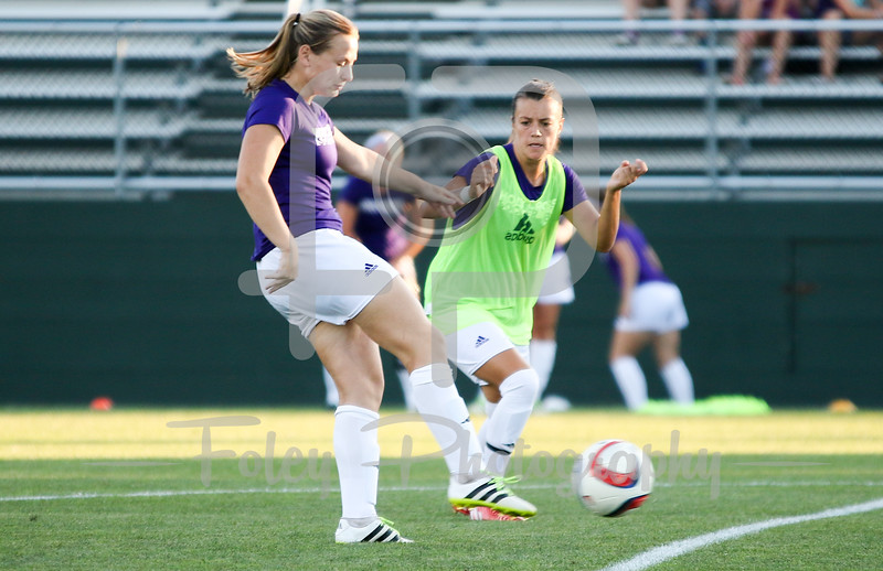 Friday, August 19, 2016; Worcester, Massachusetts;  A couple of Holy Cross player warmup before the Crusaders 3-1 victory.