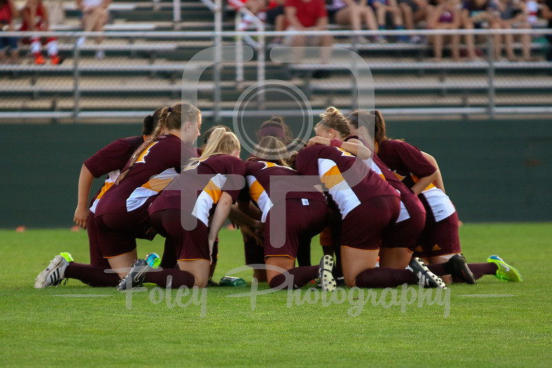 Friday, August 19, 2016; Worcester, Massachusetts;  Iona huddles up before the Crusaders 3-1 victory.
