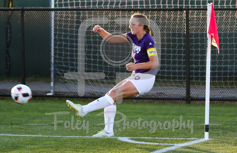 Friday, August 19, 2016; Worcester, Massachusetts; A Holy Cross player warms up before the Crusaders 3-1 victory.