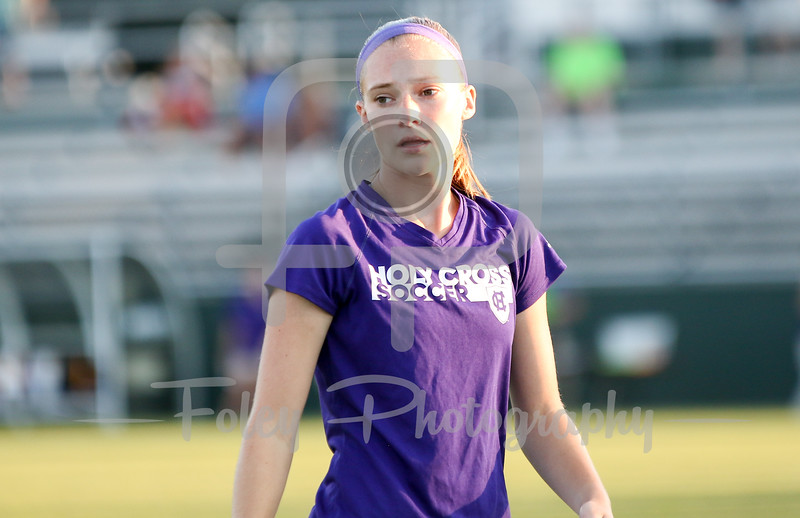 Friday, August 19, 2016; Worcester, Massachusetts;  A Holy Cross soccer player warms up before the Crusaders 3-1 victory.