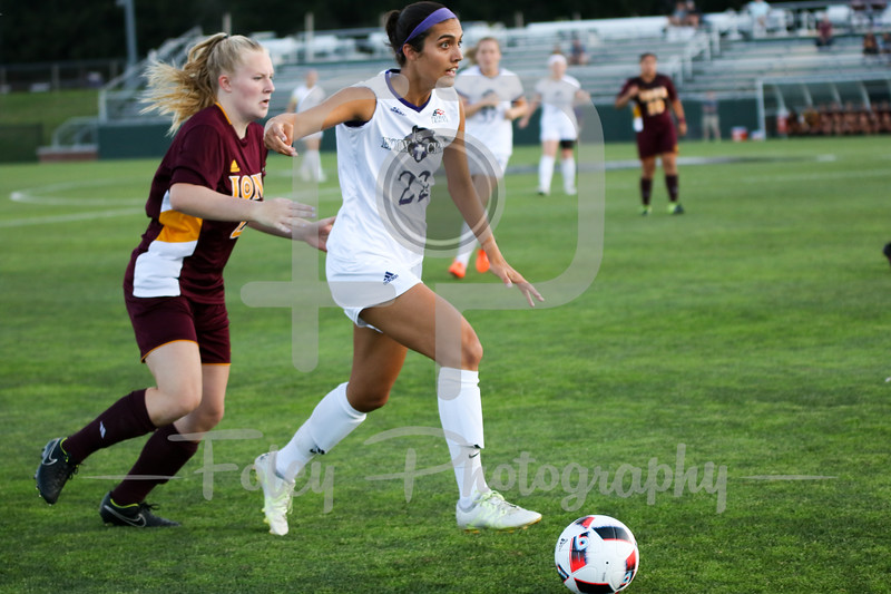 Friday, August 19, 2016; Worcester, Massachusetts;  Holy Cross Crusaders forward Christina Napolitano (22) during the Crusaders 3-1 victory.
