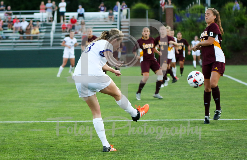 Friday, August 19, 2016; Worcester, Massachusetts;  Holly Cross forward Carolina Wallace (33) sends in a cross during the Crusaders 3-1 victory.