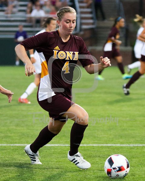 Friday, August 19, 2016; Worcester, Massachusetts;  Iona Gaels defender Christine Rebus (4) chases after a loose ball during the Holy Cross Crusaders 3-1 victory.