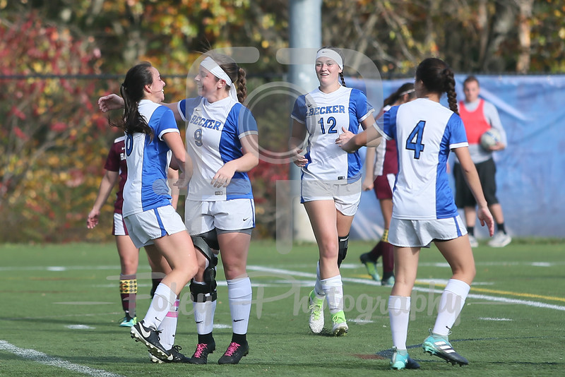 Becker College Hawks defender/forward Kyra Teixeira (9) Becker College Hawks forward Lindsey Keith (8)