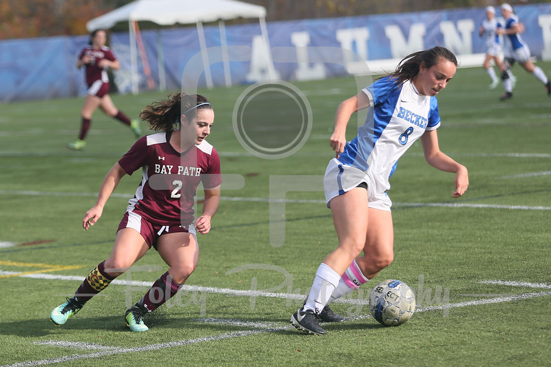 Becker College Hawks forward Lindsey Keith (8) Bay Path Wildcats Kyrsten Thibodeau (2)