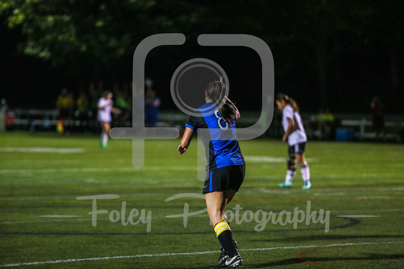 Sept. 25, 2017, AMCAT Field, Paxton, MA: Becker College Hawks Lindsey Keith (8) celebrates her third goal of the game for her 100th career point during the Hawks 11-0 victory over the Amcats.