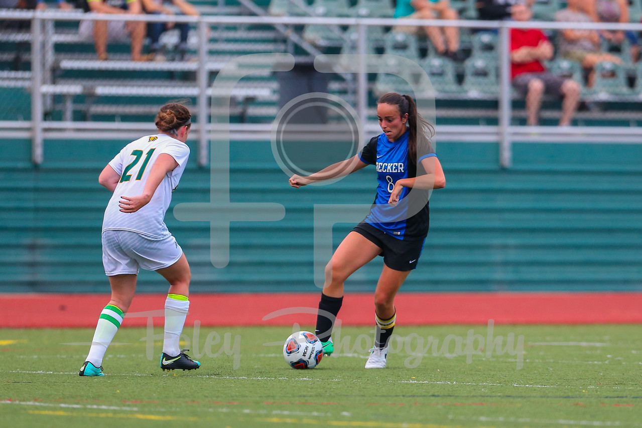 Becker College Hawks forward Lindsey Keith (8) Fitchburg State Falcons defender Siobhan O'Connell (21)