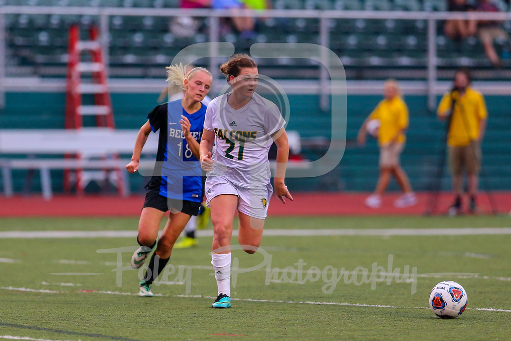 Becker College Hawks midfielder/forward Marissa Felter (18) Fitchburg State Falcons defender Siobhan O'Connell (21)