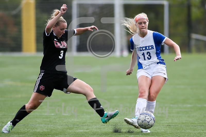 Becker College Hawks defender/midfielder Emily Campbell (13) Dean College Kristina Hill (3)