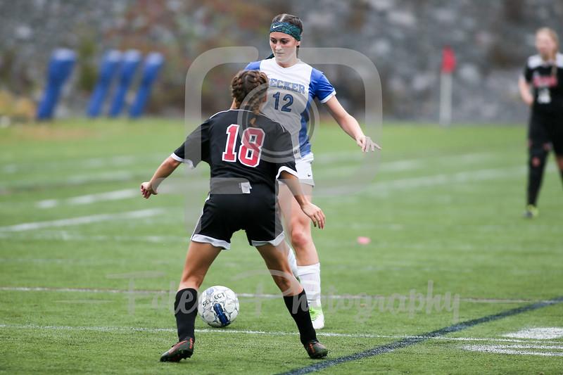 Becker College Hawks midfielder Ciara McKissick (12) Dean College Mackenzie Parisee (18)