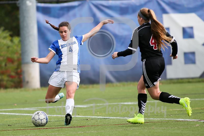 Becker College Hawks midfielder Helena Ortiz (4) Dean College Arianna Mederios (4)