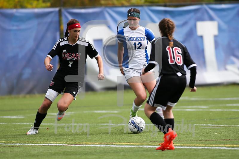 Becker College Hawks midfielder Ciara McKissick (12) Dean College Alison Nelson (7)