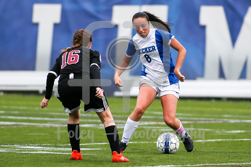 Becker College Hawks forward Lindsey Keith (8) Dean College Kim Dickson (16)