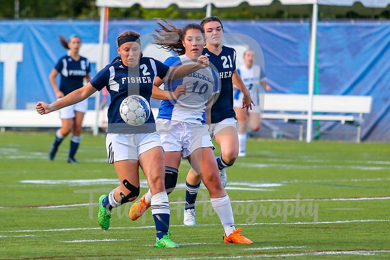 Fisher College Chelsea Browne (21) Becker College Hawks midfielder Maria Colon (10)
