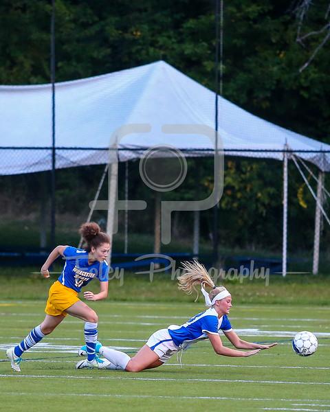 Becker College Hawks defender/midfielder Emily Campbell (13) Worcester State Lancers Tsara LeBlanc (10)