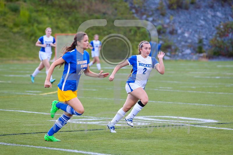 Becker College Hawks midfielder Autumn Audet (2) Worcester State Lancers Rachel Dixson (18)