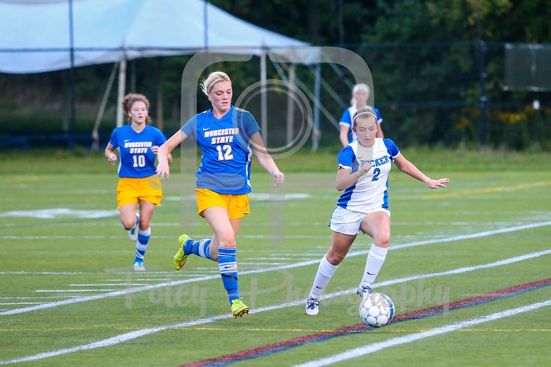 Becker College Hawks midfielder Autumn Audet (2) Worcester State Lancers Mary Beluzo (12)