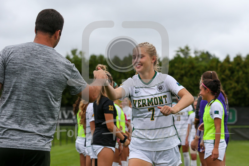 Aug. 29, 2021; Hanover, New Hampshire, USA; Vermont Catamounts midfielder Delaney Ross (7)  is introduced  before a non conference matchup between Vermont and Dartmouth. The Big Green won the game 2-1 over the Gaels at Burnham Field. Photo by Foley-Photography.