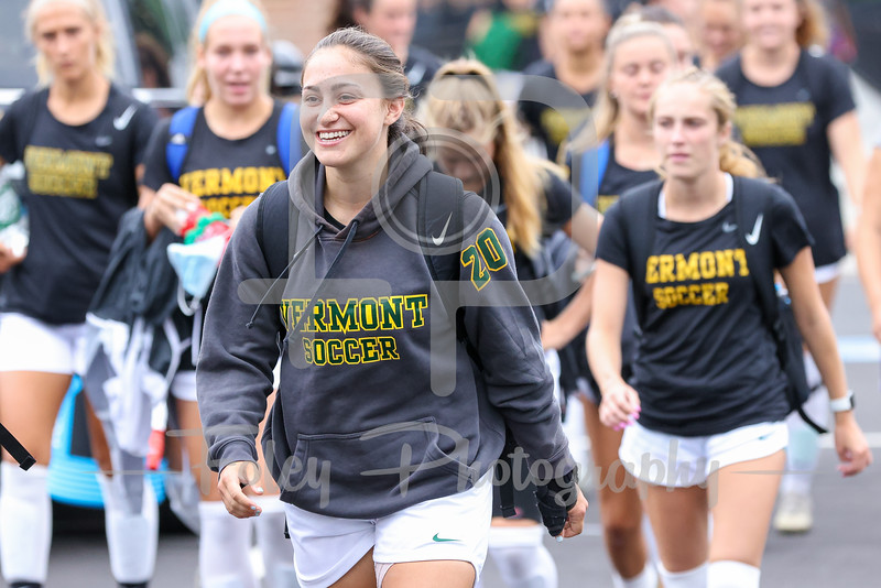 Aug. 29, 2021; Hanover, New Hampshire, USA; Vermont Catamounts forward Tessa Weiss (20)  walk out to the field before a non conference matchup between Vermont and Dartmouth. The Big Green won the game 2-1 over the Gaels at Burnham Field. Photo by Foley-Photography.