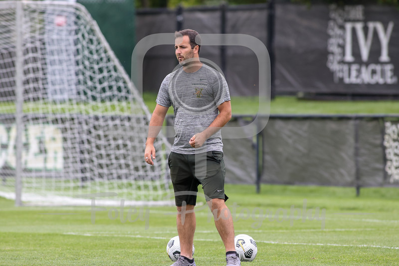 Aug. 29, 2021; Hanover, New Hampshire, USA; Vermont Catamounts Assistant Coach Michael Skelton  warm up before a non conference matchup between Vermont and Dartmouth. The Big Green won the game 2-1 over the Gaels at Burnham Field. Photo by Foley-Photography.
