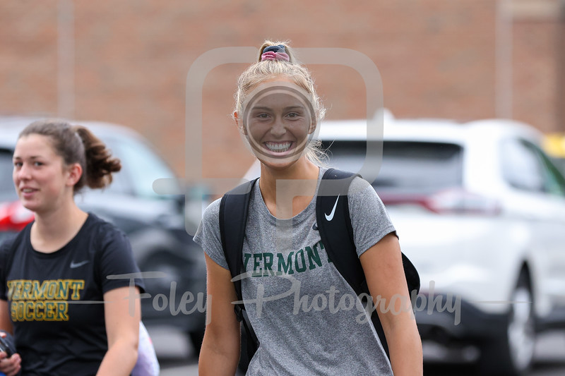 Aug. 29, 2021; Hanover, New Hampshire, USA; Vermont Catamounts goalkeeper Lydia Kessel (1)  walk out to the field before a non conference matchup between Vermont and Dartmouth. The Big Green won the game 2-1 over the Gaels at Burnham Field. Photo by Foley-Photography.