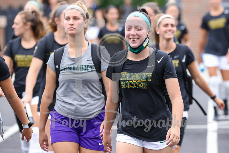 Aug. 29, 2021; Hanover, New Hampshire, USA;   walk out to the field before a non conference matchup between Vermont and Dartmouth. The Big Green won the game 2-1 over the Gaels at Burnham Field. Photo by Foley-Photography.