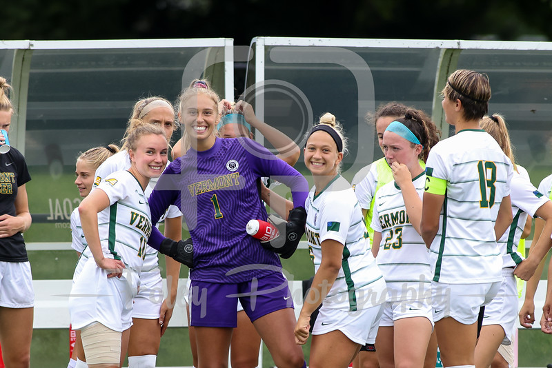 Aug. 29, 2021; Hanover, New Hampshire, USA; Vermont Catamounts midfielder Alexa Mihale (16) Vermont Catamounts goalkeeper Lydia Kessel (1) Vermont Catamounts midfielder/forward Ella Bankert (10) during a non conference matchup between Vermont and Dartmouth. The Big Green won the game 2-1 over the Gaels at Burnham Field. Photo by Foley-Photography.
