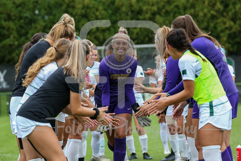 Aug. 29, 2021; Hanover, New Hampshire, USA; Vermont Catamounts goalkeeper Lydia Kessel (1)  is introduced  before a non conference matchup between Vermont and Dartmouth. The Big Green won the game 2-1 over the Gaels at Burnham Field. Photo by Foley-Photography.