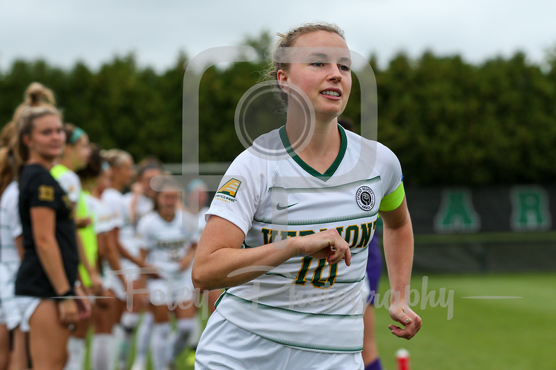Aug. 29, 2021; Hanover, New Hampshire, USA; Vermont Catamounts midfielder/forward Ella Bankert (10)  is introduced  before a non conference matchup between Vermont and Dartmouth. The Big Green won the game 2-1 over the Gaels at Burnham Field. Photo by Foley-Photography.