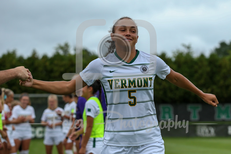 Aug. 29, 2021; Hanover, New Hampshire, USA; Vermont Catamounts defender Alex West (5)  is introduced  before a non conference matchup between Vermont and Dartmouth. The Big Green won the game 2-1 over the Gaels at Burnham Field. Photo by Foley-Photography.