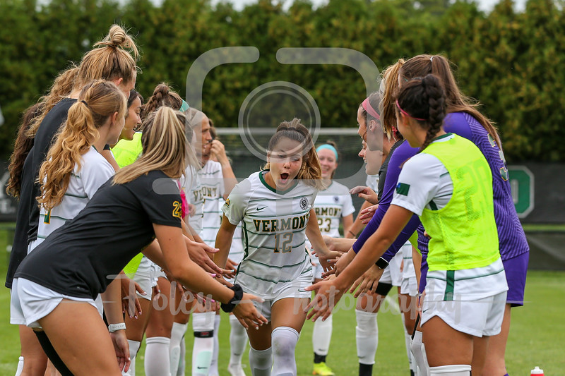 Aug. 29, 2021; Hanover, New Hampshire, USA; Vermont Catamounts forward Kill Brody (12)  is introduced  before a non conference matchup between Vermont and Dartmouth. The Big Green won the game 2-1 over the Gaels at Burnham Field. Photo by Foley-Photography.