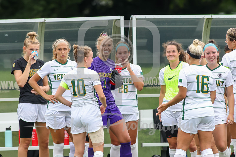 Aug. 29, 2021; Hanover, New Hampshire, USA; Vermont Catamounts goalkeeper Lydia Kessel (1) during a non conference matchup between Vermont and Dartmouth. The Big Green won the game 2-1 over the Gaels at Burnham Field. Photo by Foley-Photography.