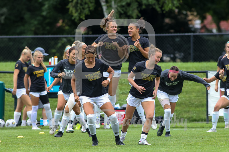 Aug. 29, 2021; Hanover, New Hampshire, USA;   warm up before a non conference matchup between Vermont and Dartmouth. The Big Green won the game 2-1 over the Gaels at Burnham Field. Photo by Foley-Photography.