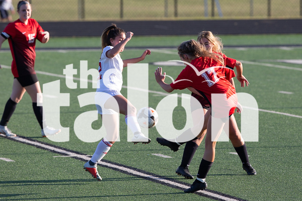 The Argyle Lady Eagles play against Mineral Wells at Azle Stadium in Azle, Texas, on April 2, 2019. (Andrew Fritz   The Talon News)