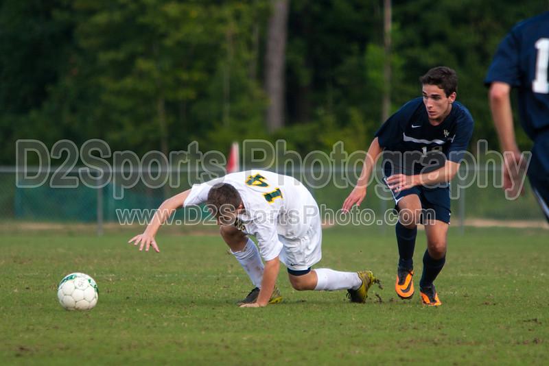 Bishop McGuinness Villains vs West Forsyth Titans Men's Varsity Soccer<br /> Forsyth Cup Soccer Tournament<br /> Friday, August 23, 2013 at West Forsyth High School<br /> Clemmons, North Carolina<br /> (file 182521_803Q4389_1D3)