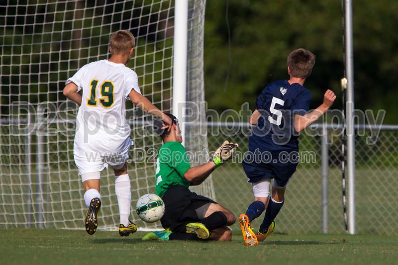 Bishop McGuinness Villains vs West Forsyth Titans Men's Varsity Soccer<br /> Forsyth Cup Soccer Tournament<br /> Friday, August 23, 2013 at West Forsyth High School<br /> Clemmons, North Carolina<br /> (file 180835_BV0H3381_1D4)