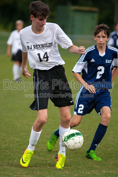 East Forsyth Eagles vs RJR Demons Men's Varsity Soccer<br /> Forsyth Cup Soccer Tournament Semifinal Match<br /> Thursday, August 22, 2013 at West Forsyth High School<br /> Clemmons, North Carolina<br /> (file 192421_803Q4287_1D3)