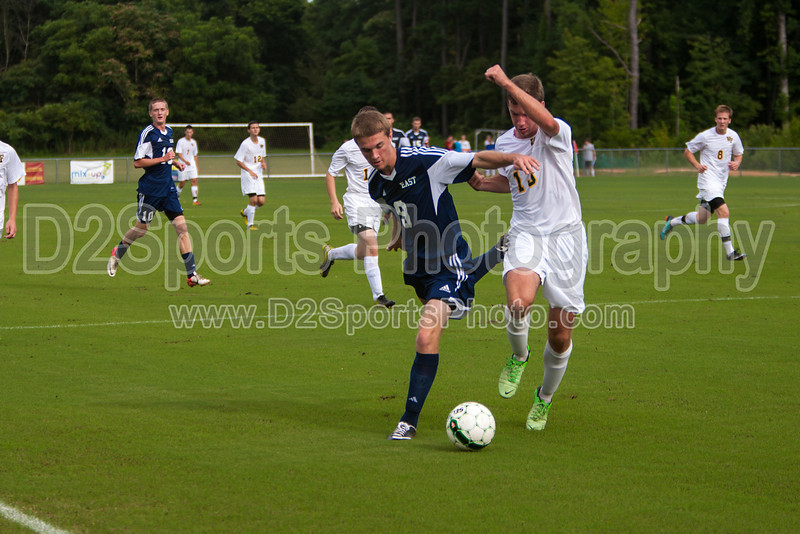 East Forsyth Eagles vs West Forsyth Titans Men's Varsity Soccer<br /> Forsyth Cup Soccer Tournament<br /> Tuesday, August 20, 2013 at West Forsyth High School<br /> Clemmons, North Carolina<br /> (file 171117_803Q4016_1D3)