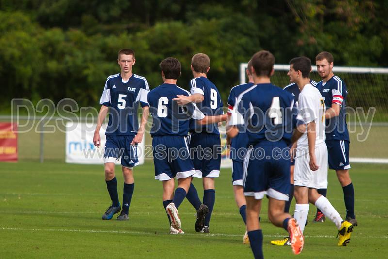 East Forsyth Eagles vs West Forsyth Titans Men's Varsity Soccer<br /> Forsyth Cup Soccer Tournament<br /> Tuesday, August 20, 2013 at West Forsyth High School<br /> Clemmons, North Carolina<br /> (file 171334_803Q4022_1D3)
