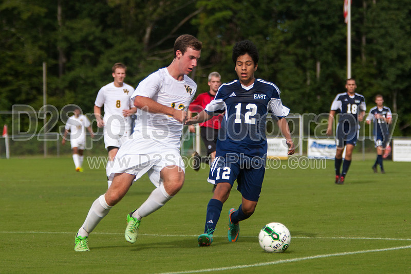 East Forsyth Eagles vs West Forsyth Titans Men's Varsity Soccer<br /> Forsyth Cup Soccer Tournament<br /> Tuesday, August 20, 2013 at West Forsyth High School<br /> Clemmons, North Carolina<br /> (file 173141_803Q4030_1D3)