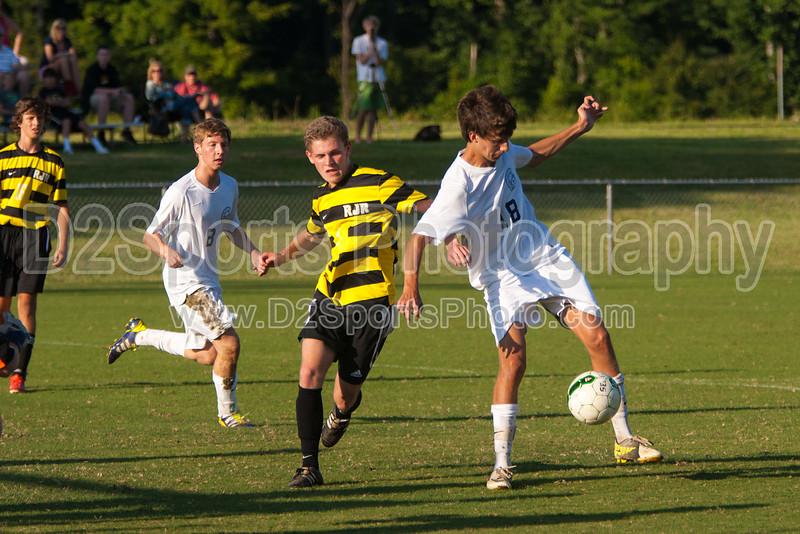 Mt Tabor Spartans vs RJR Demons Men's Varsity Soccer<br /> Forsyth Cup Soccer Tournament Consolation Match<br /> Saturday, August 24, 2013 at West Forsyth High School<br /> Clemmons, North Carolina<br /> (file 182934_803Q4491_1D3)